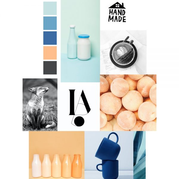 Tangy peach and analogous blues moodboard / Leysa Flores Design