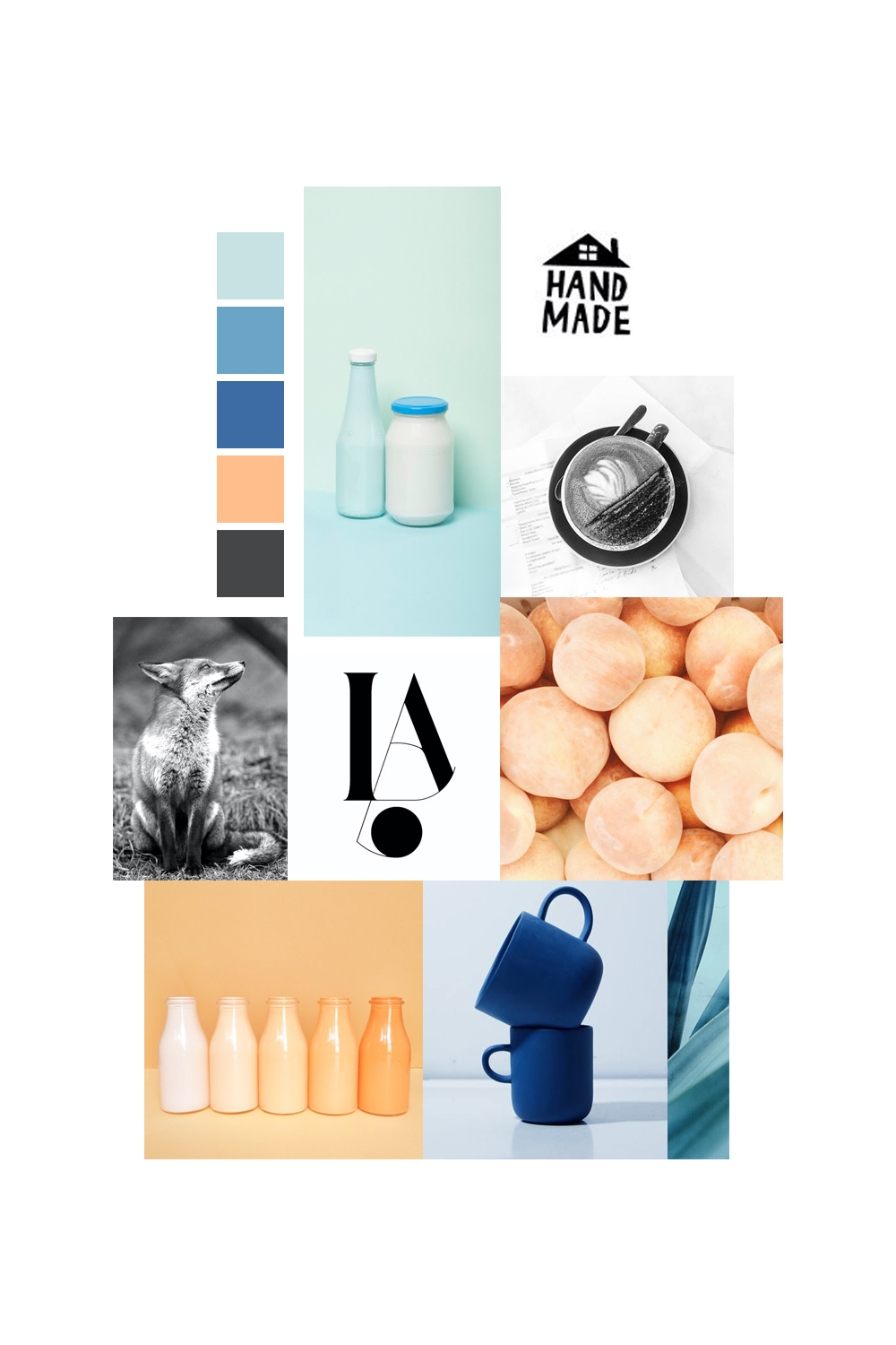 Tangy apricot and analogous blues moodboard / Leysa Flores Design
